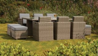 195cm Wentworth 10 Seater Rattan Cube Set