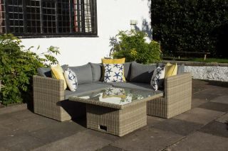Wentworth 4  Piece Corner Rattan Lounging Set With Adjustable Table
