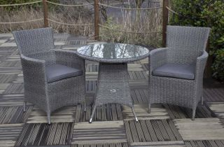 Paris Rattan Bistro Set | 70cm Round Table With 2 Carver Chairs