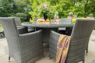 Paris 4 Seater Rattan Dining Set  | 110cm Table with 4 Carver Chairs and Cushions