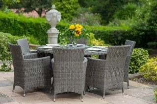 Paris 6 Seater Rattan Dining Set  | 140cm Table with 6 Carvers Chairs