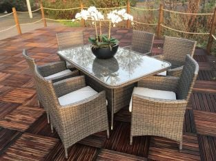 Marlow 6 Seater Rectangular Rattan Dining Set
