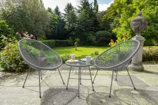 Monaco Grey 3 Piece Metal Egg Chair Set