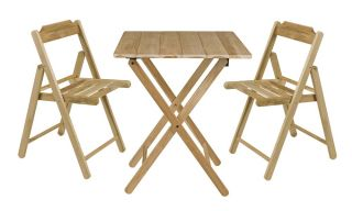 Folding Wooden Teak 2 Seater Square Garden Bistro Set
