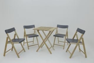 110cm Teak Wood 4 Seater Bistro Set
