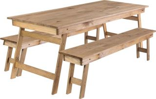 130cm Foldable Pine Wood 8 Seater Dining set