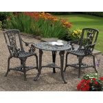 3 Piece Rose Armchair Patio Set - Gun Metal Grey