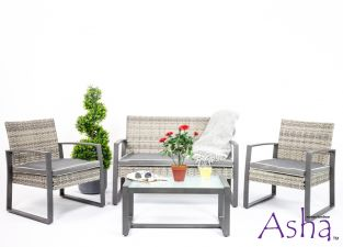 Hambleden 4 Seat Rattan Conservatory and Garden Sofa Set in Grey - by Asha™