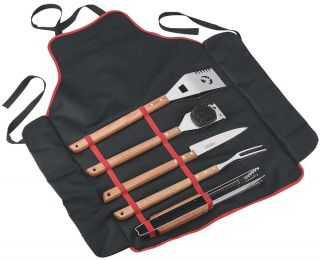 Stainless Steel 6 Piece BBQ set + Apron