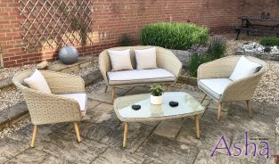 Bergholt 4 Seat Vintage Rattan Garden Furniture Set – by Asha™