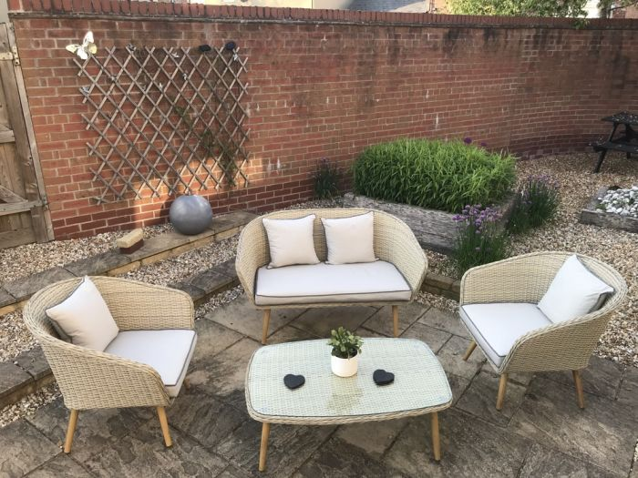 Bergholt 4 Seat Vintage Rattan Conservatory and Garden Furniture Set – by Asha™
