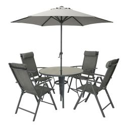 Kennet Reclining 4 Seater Polytex Dining Set In Grey By Hectare®
