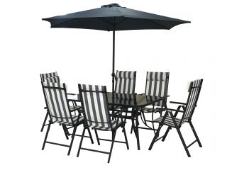 Kennet Reclining 6 Seater Polytex Dining Set In Navy Stripe By Hectare®