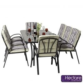 Hadleigh 8 Seater Rectangular Garden Dining Furniture Set In Black By Hectare®