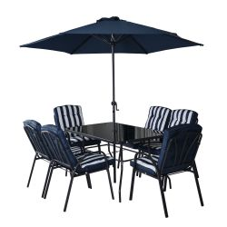 Hadleigh 6 Seater Garden Dining Furniture Set In Navy By Hectare®