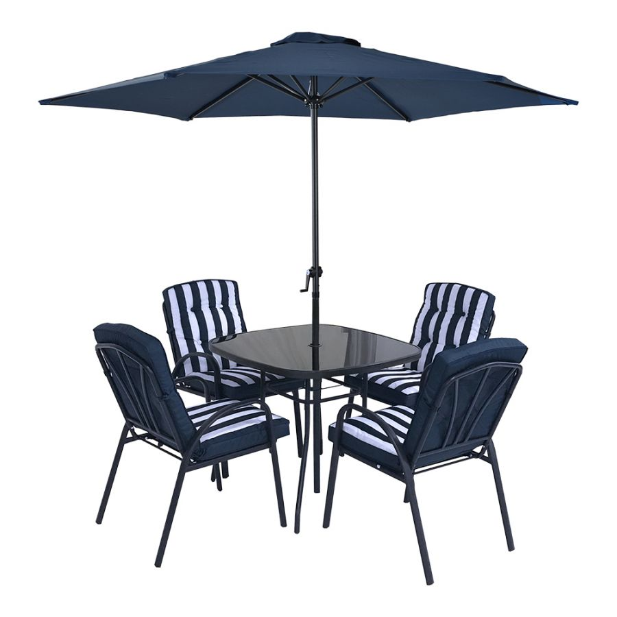 Hadleigh 4 Seater Garden Dining Furniture Set In Navy By Hectare®