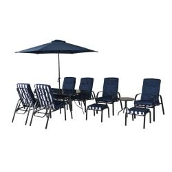 Hadleigh Reclining 6 Seater Garden Dining And Leisure Furniture Set In Navy By Hectare®
