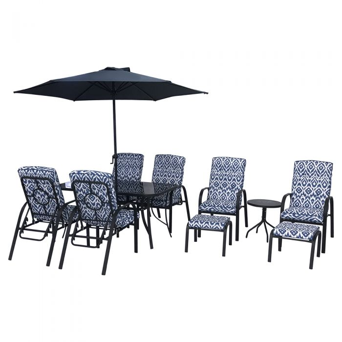 Hadleigh Reclining 6 Seater Garden Dining And Leisure Furniture Set In Blue By Hectare®