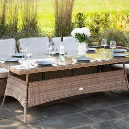 Luxury 8 Seater Rectangle Garden Dining Set in Natural Rattan by Primrose Living