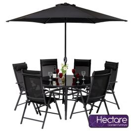 Kennet Reclining 6 Seater Round Polytex Dining Set In Black By Hectare™