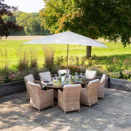 Luxury Rattan 8 Seater Oval Garden Dining Set by Primrose Living