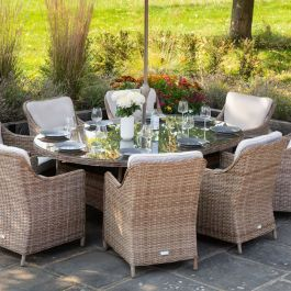 Luxury 8 Seater Oval Garden Dining Set in Natural Rattan by Primrose Living