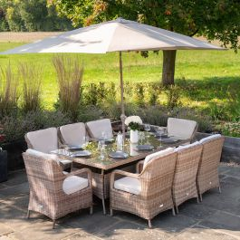 Luxury Rattan 8 Seater Rectangular Garden Dining Set by Primrose Living