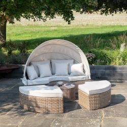 Luxury Daybed with Retractable Canopy in Natural Rattan by Primrose Living
