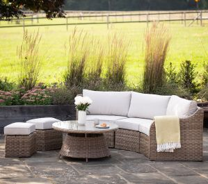 Luxury 5 Seater Garden Sofa Set with Coffee Table and Footstools in Natural Rattan by Primrose Living
