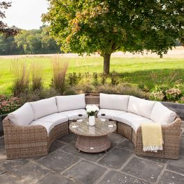 Luxury 6 Seater Garden Sofa Set with Storage Basket and Coffee Table in Natural Rattan by Primrose Living
