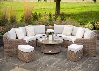 Luxury 8 Seater Garden Sofa Set with Storage Basket, Coffee Table and Footstools in Natural Rattan by Primrose Living