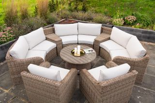 Luxury 8 Seater Garden Sofa Set with Storage Basket and Coffee Table in Natural Rattan by Primrose Living