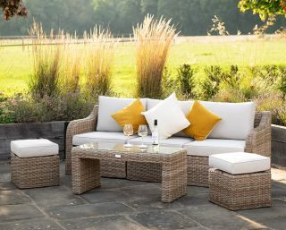 Luxury Rattan 5 Seater Garden Sofa Set with Coffee Table and Footstools by Primrose Living