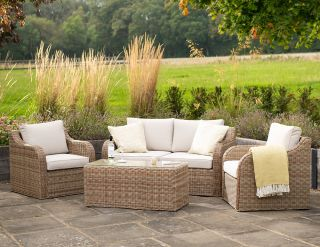 Luxury 4 Seater Garden Sofa Set with Coffee Table in Natural Rattan by Primrose Living