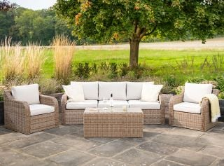 Luxury 5 Seater Garden Sofa Set with Coffee Table in Natural Rattan by Primrose Living
