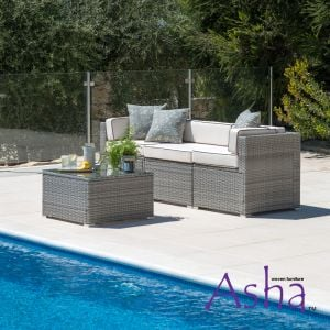 Sherborne 3 Piece Rattan Conservatory and Garden Sofa Set in Mixed Grey - by Asha™