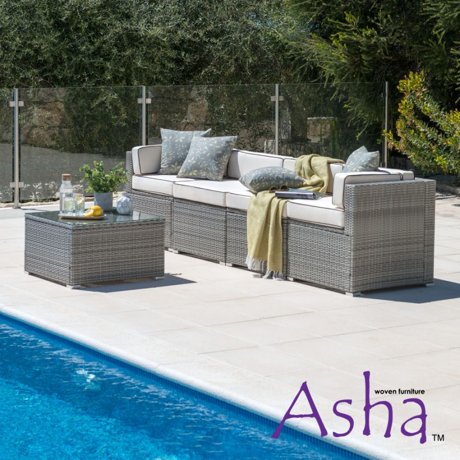 Sherborne 5 Piece Rattan Conservatory and Garden Sofa Set in Mixed Grey - by Asha™