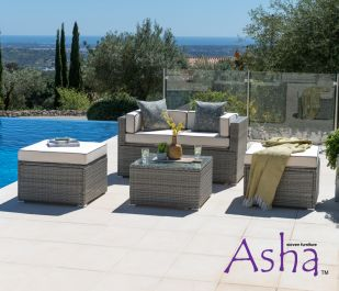 Sherborne 2 Seater Garden Sofa With 3x Table/Footstool in Mixed Grey - by Asha™