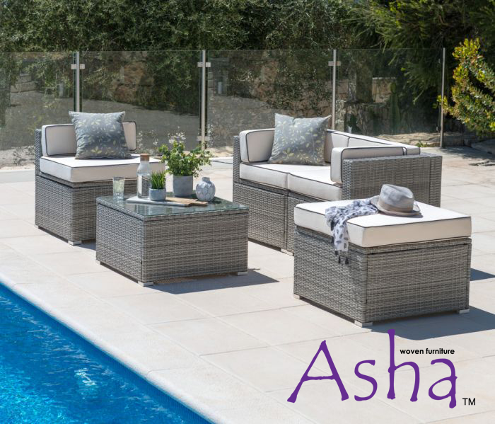 Sherborne 2 Seater Garden Sofa and Single Chair With 2x Table/Footstools in Mixed Grey - by Asha™