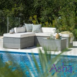 Sherborne 6 Seater Garden Corner Sofa Set With Table/Footstool in Mixed Grey - by Asha™