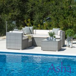 Sherborne 5 Seater Garden Corner Sofa Set in Mixed Grey - by Asha™