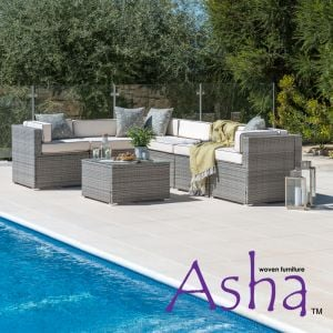 Sherborne 7 Seater Garden Corner Sofa With Table/Footstool in Mixed Grey - by Asha™