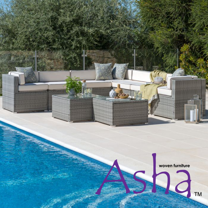 Sherborne 7 Seater Garden Corner Sofa  in Mixed Grey - by Asha™