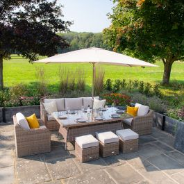 Luxury 8 Seater Garden Sofa Set with Rectangle Table and Parasol in Natural Rattan by Primrose Living