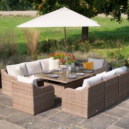 Luxury 8 Seater Garden Sofa Set with Rising Table and Parasol in Natural Rattan by Primrose Living