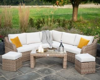 Luxury 7 Seater Garden Sofa Set with Coffee Table and Footstools in Natural Rattan by Primrose Living