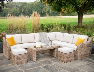 Luxury 8 Seater Garden Sofa Set with Coffee Table and Footstools in Natural Rattan by Primrose Living