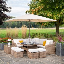 Luxury 9 Seater Garden Sofa Set with Square Rising Table and Footstools in Natural Rattan by Primrose Living