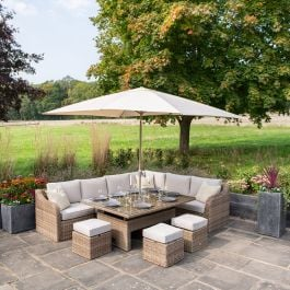 Luxury 9 Seater Garden Sofa Set with Rising Rectangle Table and Footstools in Natural Rattan by Primrose Living