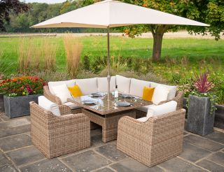 Luxury 7 Seater Garden Sofa Set with Square Rising Table in Natural Rattan by Primrose Living